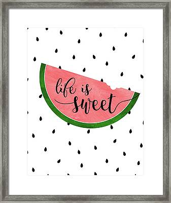 Life Is Sweet - Watermelon Framed Print