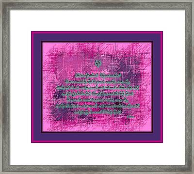 Life Framed Print by L Brown