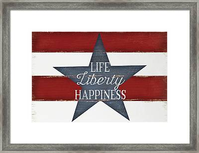 Life, Liberty, Happiness Framed Print by Jennifer Pugh