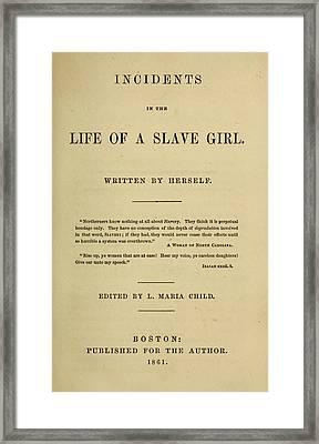 Life Of A Slave Girl, 1861 Framed Print by Granger