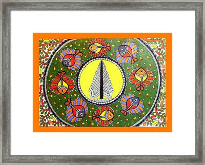 Life Of Tree-madhubani Painting Framed Print