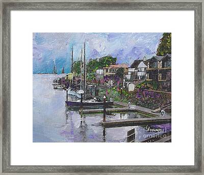 Alameda Life On The Estuary Framed Print by Linda Weinstock