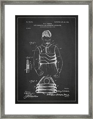 Life Preserver And Swimming Apparatus Patent Drawing From 1903 Framed Print by Aged Pixel