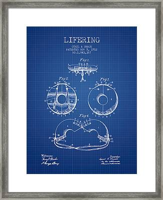 Life Ring Patent From 1912 - Blueprint Framed Print
