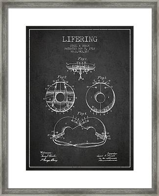 Life Ring Patent From 1912 - Charcoal Framed Print by Aged Pixel