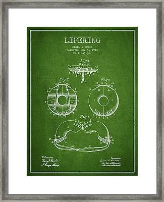 Life Ring Patent From 1912 - Green Framed Print by Aged Pixel