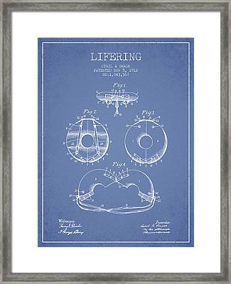 Life Ring Patent From 1912 - Light Blue Framed Print by Aged Pixel