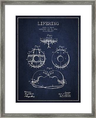 Life Ring Patent From 1912 - Navy Blue Framed Print by Aged Pixel