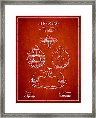 Life Ring Patent From 1912 - Red Framed Print