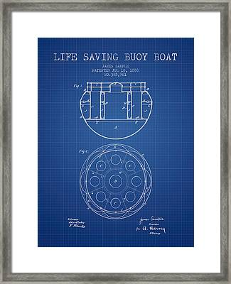 Life Saving Buoy Boat Patent From 1888 - Blueprint Framed Print