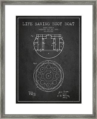 Life Saving Buoy Boat Patent From 1888 - Charcoal Framed Print by Aged Pixel