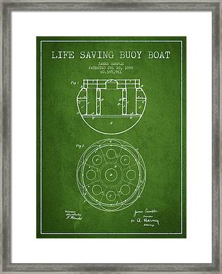 Life Saving Buoy Boat Patent From 1888 - Green Framed Print by Aged Pixel