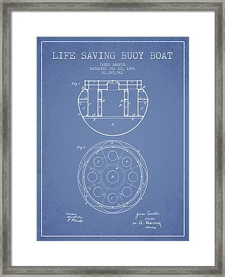 Life Saving Buoy Boat Patent From 1888 - Light Blue Framed Print