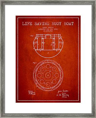 Life Saving Buoy Boat Patent From 1888 - Red Framed Print