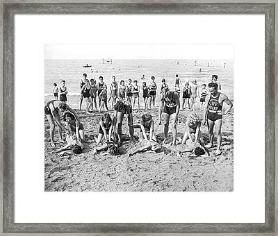 Life Saving Instructors Framed Print by Underwood Archives