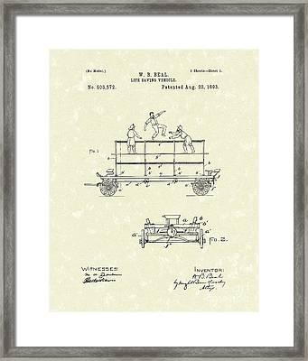Life-saving Vehicle 1893 Patent Art  Framed Print