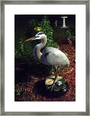 Life Size Great Blue Heron Wildlife Art Sculpture Framed Print by Chris Dixon