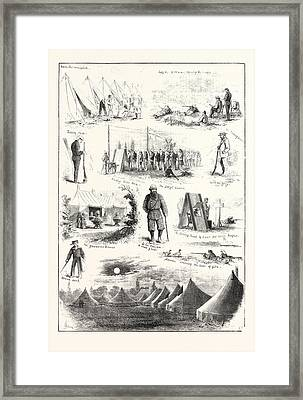Life Under Canvas, Sketches At The Volunteer Camp Framed Print