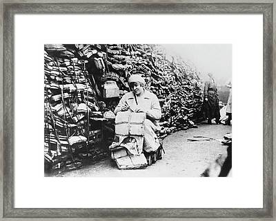 Lifebelts Into Linoleum Framed Print by Underwood Archives