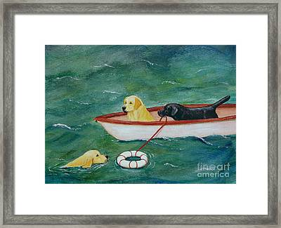 Lifeboat Labrador Dogs To The Rescue Framed Print