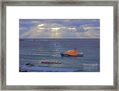 Lifeboats And A Gig Framed Print