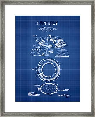 Lifebuoy Patent From 1919 - Blueprint Framed Print