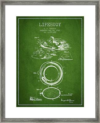 Lifebuoy Patent From 1919 - Green Framed Print by Aged Pixel