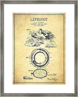 Lifebuoy Patent From 1919 - Vintage Framed Print