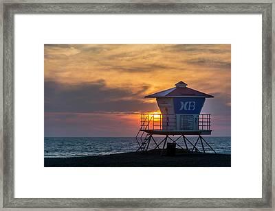 Lifeguard At Beach Framed Print