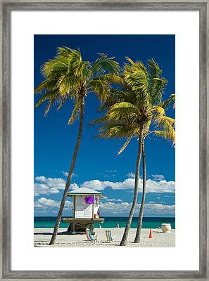 Lifeguard Cabin On Miami Beach Framed Print
