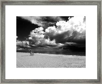 Lifeguard Chair Clouds Framed Print