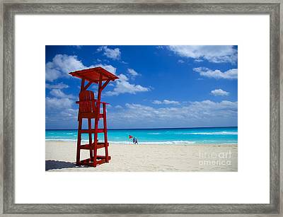 Framed Print featuring the photograph Lifeguard Chair  by Sarah Mullin