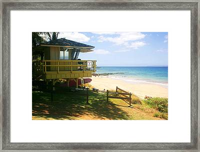 Lifeguard Hut On The Beach Framed Print