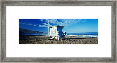 Lifeguard Hut On The Beach, Torrance Framed Print by Panoramic Images