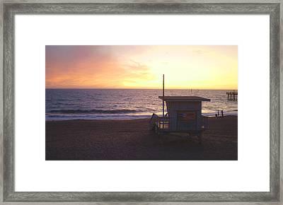 Lifeguard Shack At Sunset Framed Print by Mark Barclay