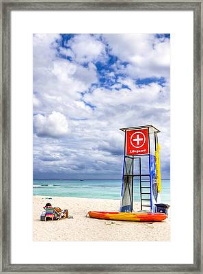 Lifeguard Stand On A Lazy Caribbean Beach Framed Print by Mark E Tisdale