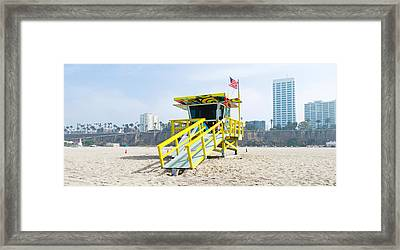 Lifeguard Station On The Beach, Santa Framed Print