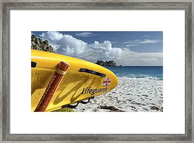 Surfboard In Cornwall Framed Print