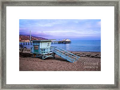 Lifeguard Tower And Malibu Beach Pier Seascape Fine Art Photograph Print Framed Print