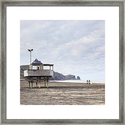 Lifeguard Tower And Surfers Bethells Beach New Zealand Framed Print