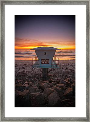 Lifeguard Tower At Dusk Framed Print by Peter Tellone