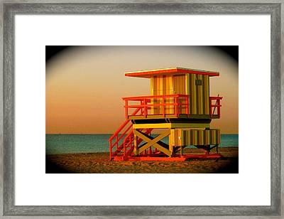 Lifeguard Tower In Miami Beach Framed Print by Monique Wegmueller
