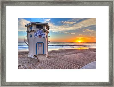Lifeguard Tower On Main Beach Framed Print