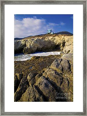 Lifeguard Tower On The Edge Of A Cliff Framed Print