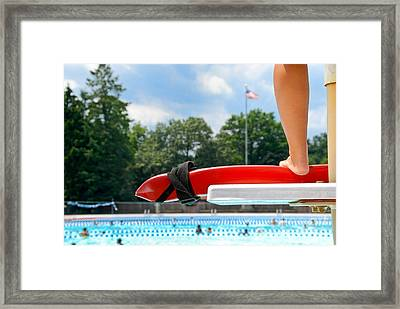 Lifeguard Watches Swimmers Framed Print by Amy Cicconi