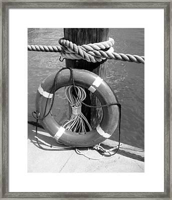 Framed Print featuring the photograph Lifesaver - Black And White by Ellen Tully