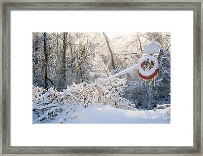 Lifesaver In Winter Snow Framed Print by Elena Elisseeva