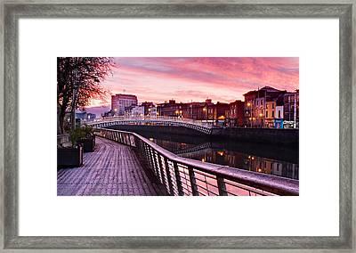 Framed Print featuring the photograph Liffey Boardwalk At Dawn - Dublin by Barry O Carroll