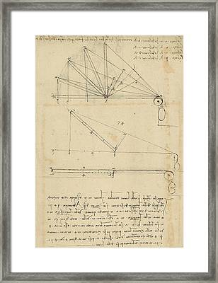 Lifting By Means Of Pulleys Of Beam With Extremity Fixed To Ground From Atlantic Codex Framed Print by Leonardo Da Vinci