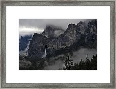 Lifting Fog And Clouds At Bridalveil Fall Framed Print